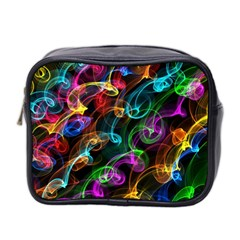 Rainbow Ribbon Swirls Digitally Created Colourful Mini Toiletries Bag 2 Side