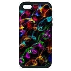 Rainbow Ribbon Swirls Digitally Created Colourful Apple Iphone 5 Hardshell Case (pc+silicone) by Nexatart