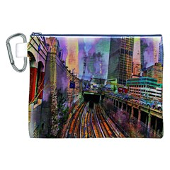 Downtown Chicago City Canvas Cosmetic Bag (xxl) by Nexatart