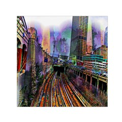 Downtown Chicago City Small Satin Scarf (square) by Nexatart