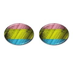 Brickwall Cufflinks (oval) by Nexatart