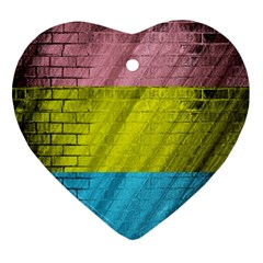 Brickwall Heart Ornament (two Sides) by Nexatart