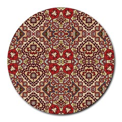 Seamless Pattern Based On Turkish Carpet Pattern Round Mousepads by Nexatart