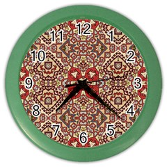 Seamless Pattern Based On Turkish Carpet Pattern Color Wall Clocks by Nexatart