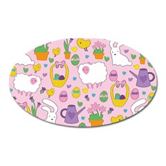 Cute Easter Pattern Oval Magnet by Valentinaart