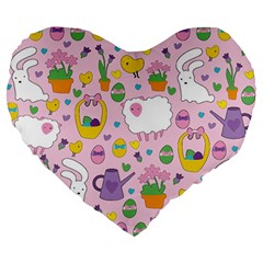 Cute Easter Pattern Large 19  Premium Flano Heart Shape Cushions by Valentinaart