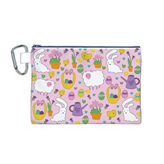 Cute Easter Pattern Canvas Cosmetic Bag (m) by Valentinaart