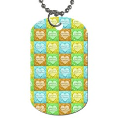 Colorful Happy Easter Theme Pattern Dog Tag (two Sides) by dflcprints