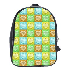 Colorful Happy Easter Theme Pattern School Bags(large)  by dflcprints