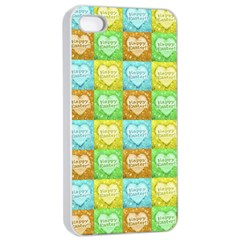 Colorful Happy Easter Theme Pattern Apple Iphone 4/4s Seamless Case (white) by dflcprints