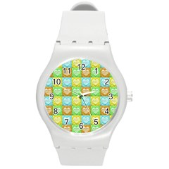 Colorful Happy Easter Theme Pattern Round Plastic Sport Watch (m) by dflcprints