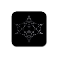 Drawing Of A White Spindle On Black Rubber Coaster (square)  by Nexatart