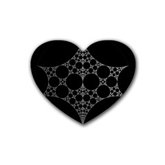 Drawing Of A White Spindle On Black Rubber Coaster (heart)  by Nexatart