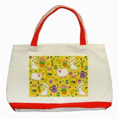 Cute Easter Pattern Classic Tote Bag (red) by Valentinaart