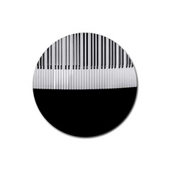 Piano Keys On The Black Background Rubber Coaster (round)  by Nexatart
