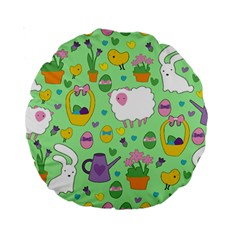 Cute Easter Pattern Standard 15  Premium Round Cushions by Valentinaart