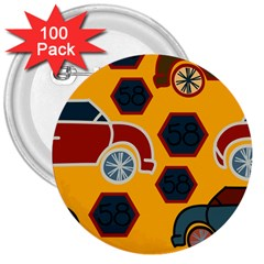 Husbands Cars Autos Pattern On A Yellow Background 3  Buttons (100 Pack)  by Nexatart