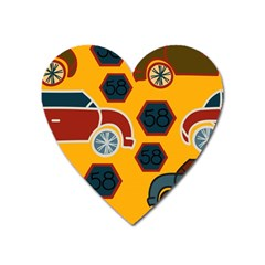 Husbands Cars Autos Pattern On A Yellow Background Heart Magnet by Nexatart