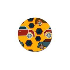 Husbands Cars Autos Pattern On A Yellow Background Golf Ball Marker (4 Pack) by Nexatart