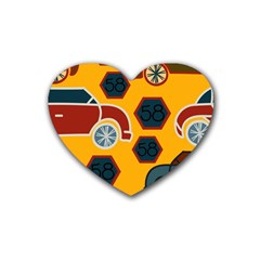 Husbands Cars Autos Pattern On A Yellow Background Heart Coaster (4 Pack)  by Nexatart