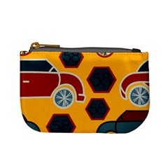 Husbands Cars Autos Pattern On A Yellow Background Mini Coin Purses by Nexatart