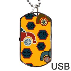 Husbands Cars Autos Pattern On A Yellow Background Dog Tag Usb Flash (two Sides) by Nexatart