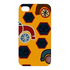 Husbands Cars Autos Pattern On A Yellow Background Apple Iphone 4/4s Hardshell Case by Nexatart