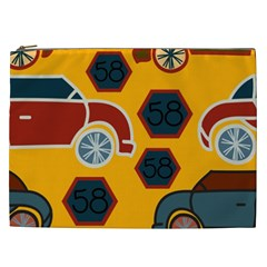Husbands Cars Autos Pattern On A Yellow Background Cosmetic Bag (xxl)  by Nexatart