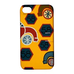 Husbands Cars Autos Pattern On A Yellow Background Apple Iphone 4/4s Hardshell Case With Stand by Nexatart