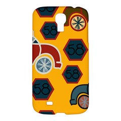 Husbands Cars Autos Pattern On A Yellow Background Samsung Galaxy S4 I9500/i9505 Hardshell Case by Nexatart
