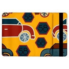 Husbands Cars Autos Pattern On A Yellow Background Ipad Air Flip by Nexatart