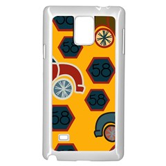 Husbands Cars Autos Pattern On A Yellow Background Samsung Galaxy Note 4 Case (white) by Nexatart