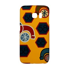 Husbands Cars Autos Pattern On A Yellow Background Galaxy S6 Edge by Nexatart