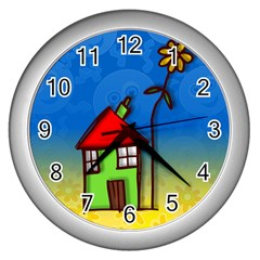 Colorful Illustration Of A Doodle House Wall Clocks (silver)  by Nexatart