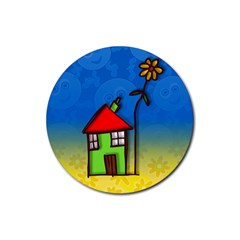Colorful Illustration Of A Doodle House Rubber Coaster (round)