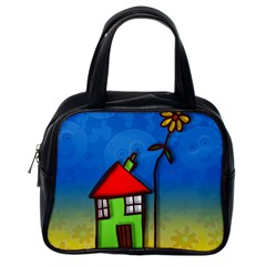 Colorful Illustration Of A Doodle House Classic Handbags (one Side) by Nexatart