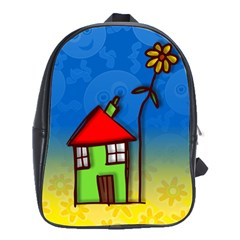Colorful Illustration Of A Doodle House School Bags(large)