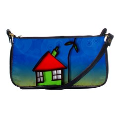 Colorful Illustration Of A Doodle House Shoulder Clutch Bags by Nexatart