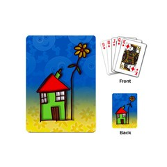 Colorful Illustration Of A Doodle House Playing Cards (mini)  by Nexatart