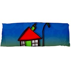 Colorful Illustration Of A Doodle House Body Pillow Case Dakimakura (two Sides) by Nexatart