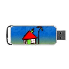 Colorful Illustration Of A Doodle House Portable Usb Flash (two Sides) by Nexatart