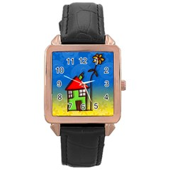 Colorful Illustration Of A Doodle House Rose Gold Leather Watch  by Nexatart