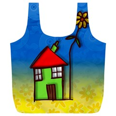 Colorful Illustration Of A Doodle House Full Print Recycle Bags (l)  by Nexatart