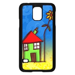Colorful Illustration Of A Doodle House Samsung Galaxy S5 Case (black) by Nexatart