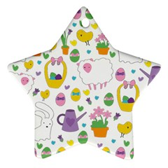 Cute Easter Pattern Ornament (star) by Valentinaart