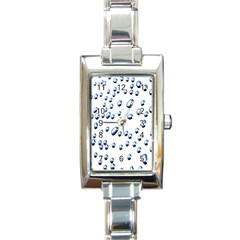 Water Drops On White Background Rectangle Italian Charm Watch by Nexatart