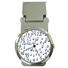 Water Drops On White Background Money Clip Watches by Nexatart