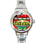 Coffee Tin A Classic Illustration Round Italian Charm Watch