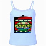 Coffee Tin A Classic Illustration Baby Blue Spaghetti Tank