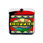 Coffee Tin A Classic Illustration Rubber Square Coaster (4 pack)